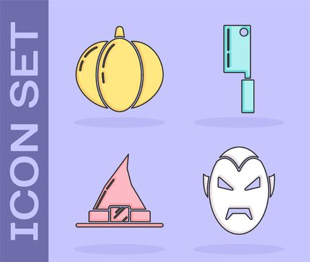 Set Vampire , Pumpkin , Witch hat  and Meat chopper  icon. Vector