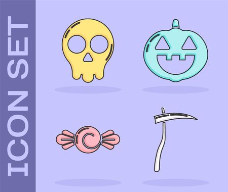 Set Scythe , Skull , Candy  and Pumpkin  icon. Vector