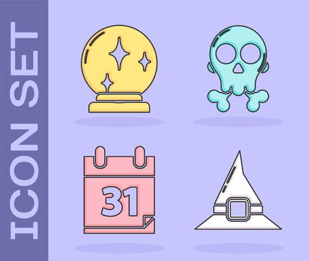 Set Witch hat , Magic ball , Calendar with Halloween date 31 october and Skull on crossbones  icon. Vector Çizim