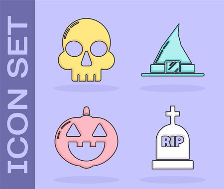 Set Tombstone with RIP, Skull , Pumpkin  and Witch hat  icon. Vector Çizim