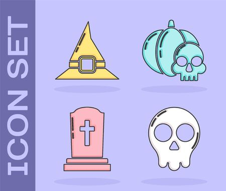 Set Skull , Witch hat , Tombstone with cross  and Pumpkin and skull  icon. Vector