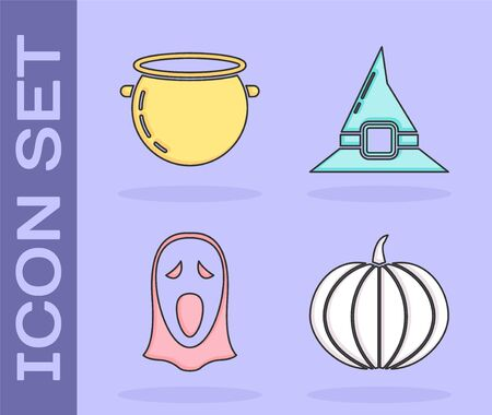 Set Pumpkin , Halloween witch cauldron , Funny and scary ghost mask for Halloween  and Witch hat  icon. Vector