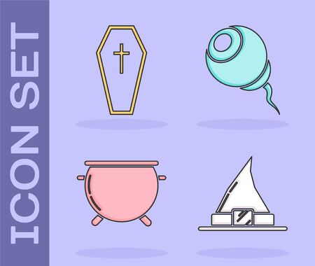 Set Witch hat , Coffin with christian cross , Halloween witch cauldron  and Eye  icon. Vector Çizim