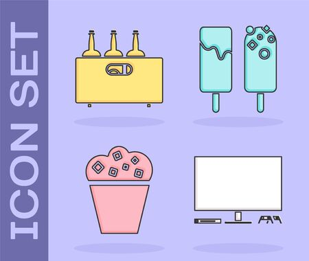 Set Video game console , Bottles of wine in a wooden box , Popcorn in cardboard box and Ice cream icon. Vector