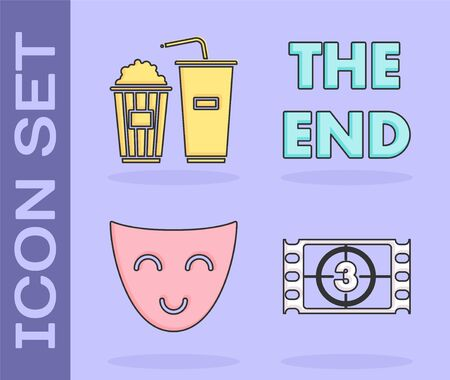 Set Play Video , Popcorn and soda drink glass, Comedy theatrical mask and The End handwritten inscription icon. Vector
