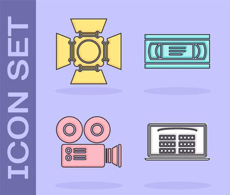 Set Buy cinema ticket online , Movie spotlight , Cinema camera and VHS video cassette tape icon. Vector