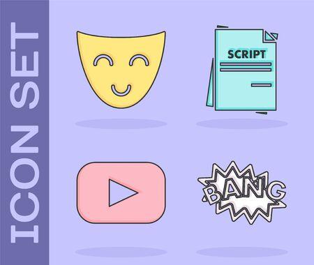 Set Bang boom text speech bubble balloon , Comedy theatrical mask , Play and Scenario icon. Vector