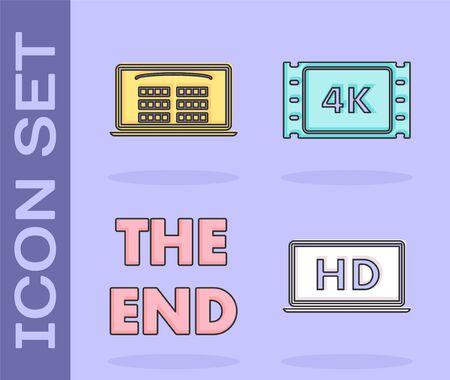 Set Laptop screen with HD video technology , Buy cinema ticket online , The End handwritten inscription and 4k movie, tape, frame icon. Vector Vektoros illusztráció