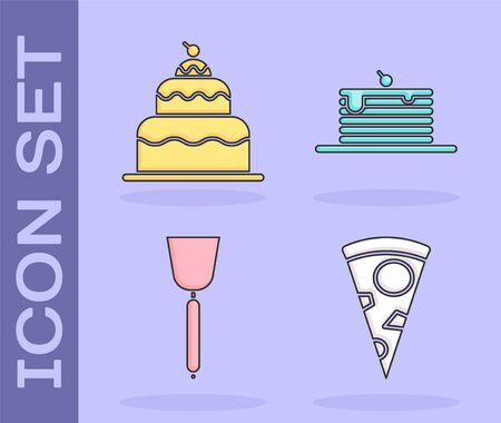 Set Slice of pizza , Cake , Spatula and Stack of pancakes icon. Vector Ilustração