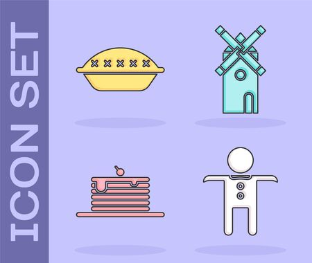 Set Holiday gingerbread man cookie , Homemade pie , Stack of pancakes and Windmill icon. Vector