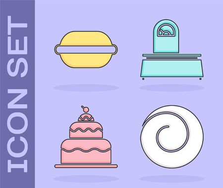 Set Roll bun with cinnamon , Macaron cookie , Cake and Scales icon. Vector Ilustração