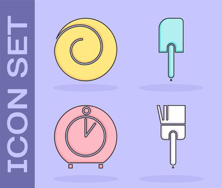 Set Kitchen brush , Roll bun with cinnamon , Kitchen timer  and Spatula  icon. Vector