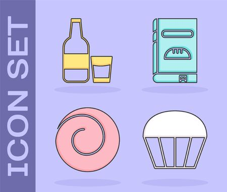 Set Muffin , Glass bottle with milk and glass , Roll bun with cinnamon and Cookbook icon. Vector