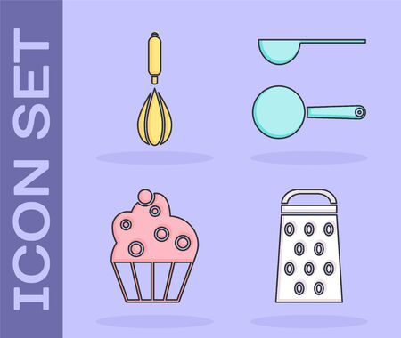 Set Grater , Kitchen whisk , Cupcake and Measuring spoon icon. Vector Çizim