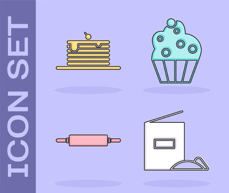 Set Flour pack , Stack of pancakes , Rolling pin and Cupcake icon. Vector