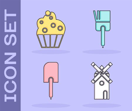Set Windmill , Cupcake , Spatula and Kitchen brush icon. Vector
