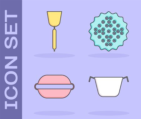 Set Cooking pot , Spatula , Macaron cookie and Cracker biscuit icon. Vector