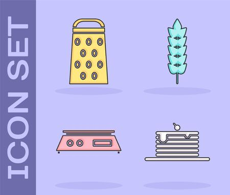 Set Stack of pancakes , Grater , Electronic scales  and Cereals with rice, wheat, corn, oats, rye icon. Vector