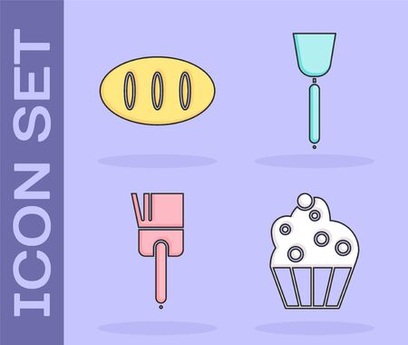 Set Cupcake , Bread loaf , Kitchen brush  and Spatula  icon. Vector