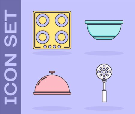 Set Spatula , Gas stove , Covered with a tray of food  and Bowl  icon. Vector 일러스트