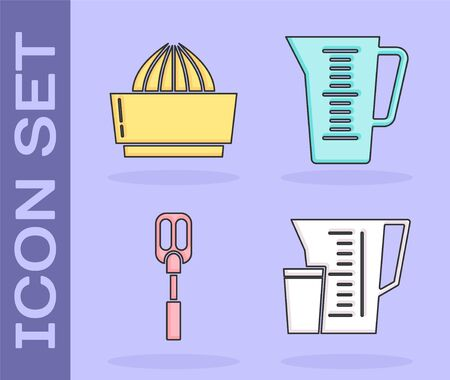 Set Measuring cup, Citrus fruit juicer , Spatula  and Measuring cup icon. Vector