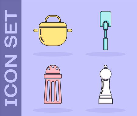 Set Pepper , Cooking pot , Salt  and Spatula  icon. Vector