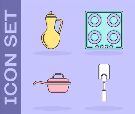 Set Spatula , Bottle of olive oil , Frying pan  and Gas stove  icon. Vector