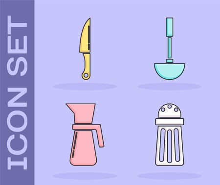Set Salt , Knife , Measuring cup and Kitchen ladle  icon. Vector