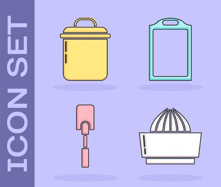 Set Citrus fruit juicer , Cooking pot , Spatula  and Cutting board  icon. Vector 일러스트