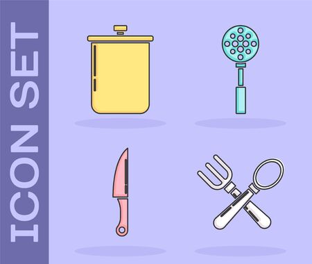 Set Crossed fork and spoon , Cooking pot , Knife and Spatula icon. Vector