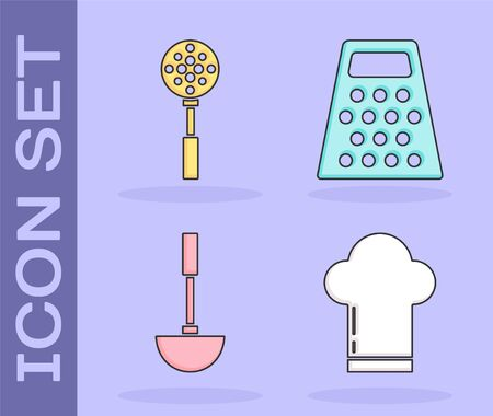 Set Chef hat , Spatula , Kitchen ladle  and Grater  icon. Vector