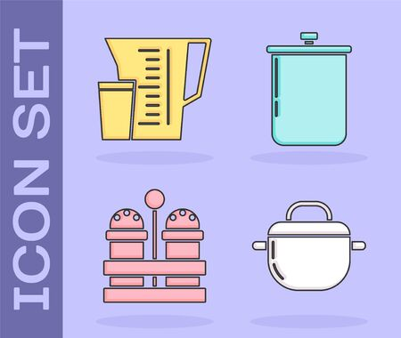 Set Cooking pot , Measuring cup, Salt and pepper  and Cooking pot  icon. Vector