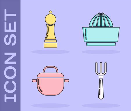 Set Fork , Pepper , Cooking pot  and Citrus fruit juicer  icon. Vector