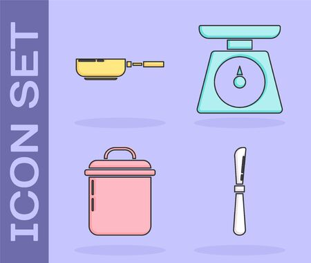 Set Knife , Frying pan , Cooking pot and Scales icon. Vector