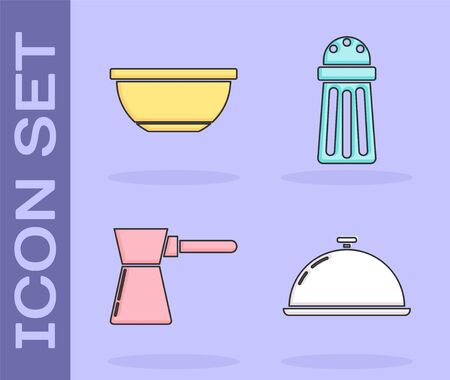 Set Covered with a tray of food , Bowl , Coffee turk  and Salt  icon. Vector