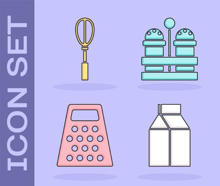 Set Paper package for milk , Kitchen whisk , Grater  and Salt and pepper  icon. Vector