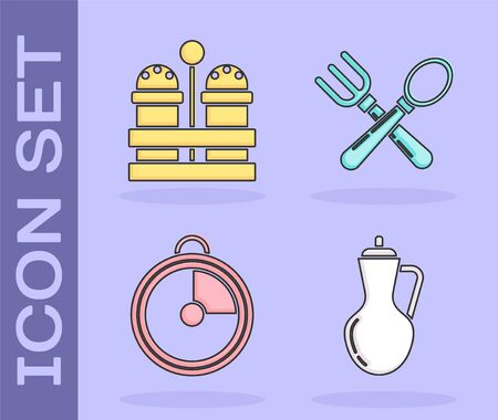 Set Bottle of olive oil , Salt and pepper , Kitchen timer  and Crossed fork and spoon  icon. Vector