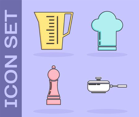 Set Frying pan , Measuring cup, Pepper  and Chef hat  icon. Vector