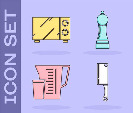 Set Meat chopper , Microwave oven , Measuring cup and Pepper  icon. Vector