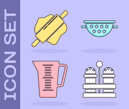 Set Salt and pepper , Rolling pin , Measuring cup and Kitchen colander  icon. Vector