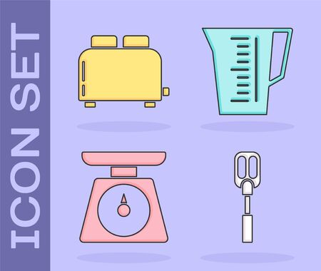 Set Spatula , Toaster with toasts , Scales and Measuring cup icon. Vector
