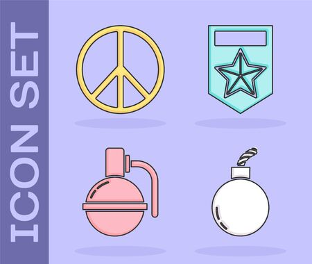 Set Bomb ready to explode , Peace , Hand grenade  and Chevron  icon. Vector