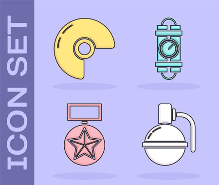 Set Hand grenade , Military helmet , Military reward medal  and Detonate dynamite bomb stick and timer clock icon. Vector