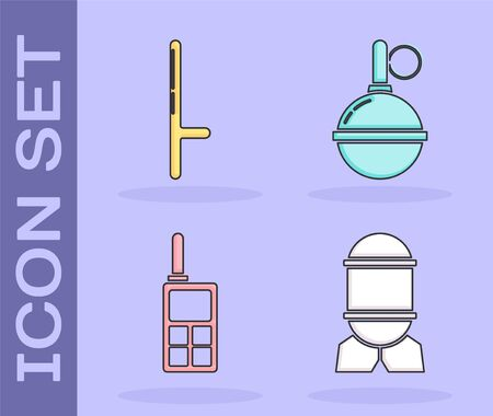 Set Aviation bomb , Police rubber baton , Walkie talkie  and Hand grenade  icon. Vector