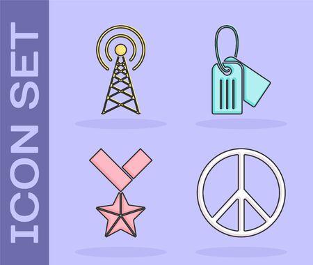 Set Peace , Radar , Military reward medal  and Military dog tag  icon. Vector Ilustrace