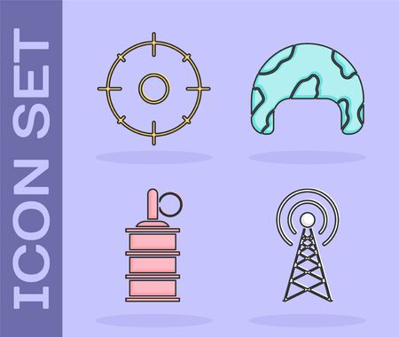 Set Radar , Target sport for shooting competition , Hand grenade  and Military helmet  icon. Vector