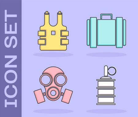 Set Hand grenade , Bulletproof vest for protection from bullets , Gas mask  and Military ammunition box icon. Vector