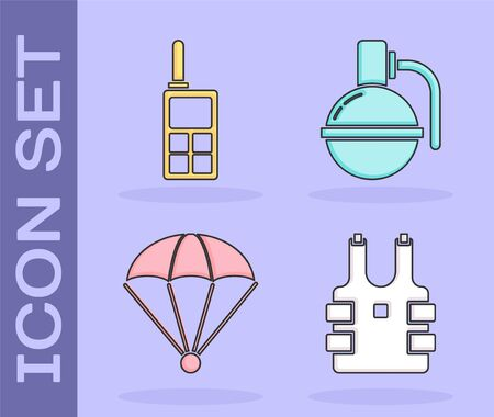 Set Bulletproof vest for protection from bullets , Walkie talkie , Parachute  and Hand grenade  icon. Vector Ilustração