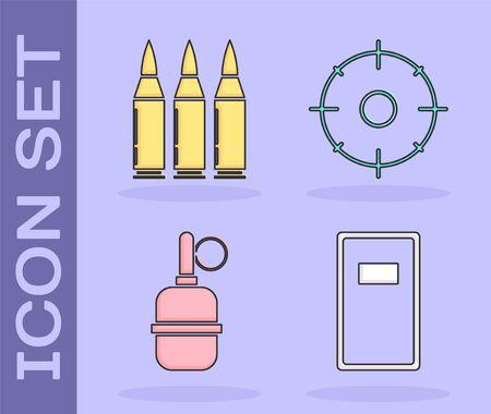 Set Police assault shield , Bullet , Hand grenade  and Target sport for shooting competition  icon. Vector Ilustração