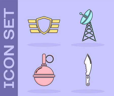Set Military knife , Military reward medal , Hand grenade  and Radar  icon. Vector
